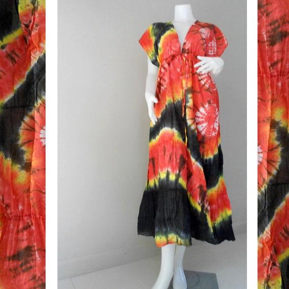 Psychedelic Tropical Artwork Beach Handmade 100 % Tie Dye Cotton Boho Hippi Maxi Kimono Dress S-L (TD 462)