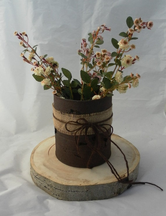 Items similar to rusty can wedding vase rustic