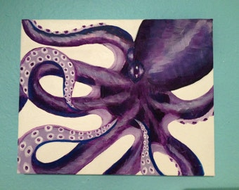 "Purple ""Curly Octopus"" Painting"