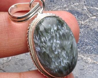 Natural Seraphinite silver plated  pendant  ( #J543)