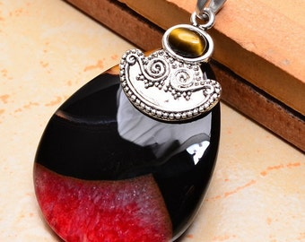 Agate  and tiger eye silver plated pendant (#J1267)