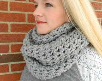 Crochet Infinity Scarf, Crochet Cowl Scarf, Circle Scarf, Loop Scarf, Light Gray Infinity Scarf - Can be worn 2 different ways!