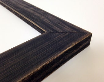 BLACK Rustic Wood Picture Frame, Reclaimed Distressed Wood - All Wood - 4x6, 5x7, 8x10, 11x14, 16x20, 18x24, 24x36 + Custom Frame Sizes