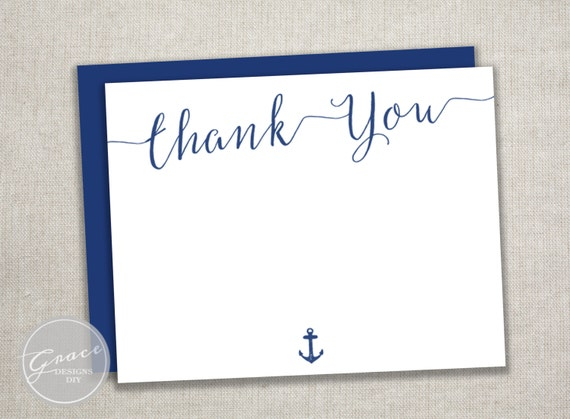 Items similar to navy blue thank you card calligraphy