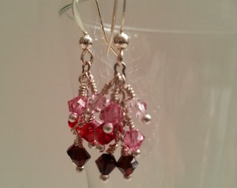 Shades of Red Crystal Cascade Earrings