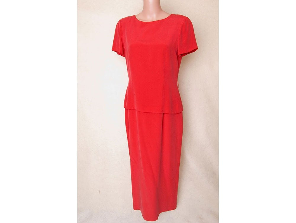 Vintage, Size 10. Red, Silk, Dress, Ankle Length, Layered Look, Blouse ...