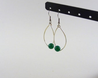 Atik - Green silver dangling earrings
