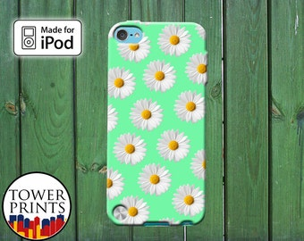 Mint Daisy Flower Pattern Cute Tumblr Inspired Custom for iPod Touch 4th Generation and iPod Touch 5th Generation Gen Plastic Rubber