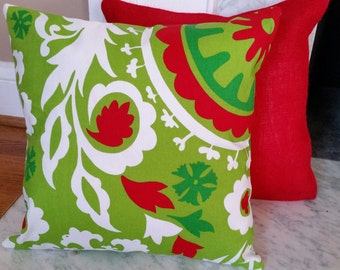 Pillow Cover Green Chartreuse with Green and Red Print and Velcro Closure