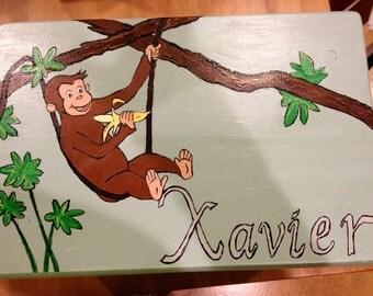 Monkey-theme child's hand-painted step stool