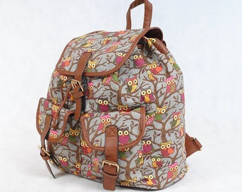 backpack beautiful, roomy, colorful owls