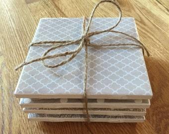 Set of 4 Tan & Grey Coasters