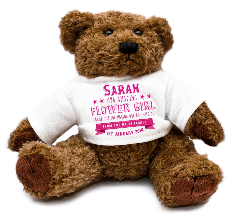 personalized flower girl wedding teddy gift thank you
