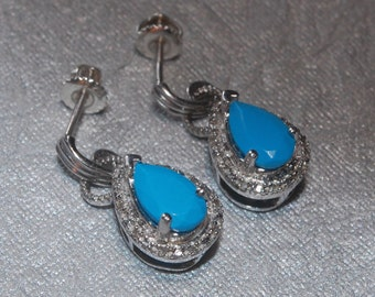Pear Shaped Turquoise Earrings with Diamond Accents Set in Sterling Silver