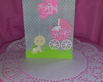 Cute hand made baby girl one of a kind card.