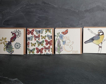 Greeting Cards, Pack of 4 cards - 4 different designs