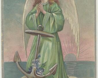 POSTCARD - Easter Greeting - ANGEL w ANCHOR - Embossed & Embellished - 1912