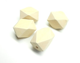 Lot of 5 beads wooden natural form polygon rectangular 20 * 26 mm
