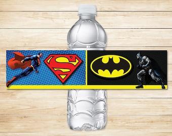Batman Superman Water Bottle Label // Batman Superman Drink Wrapper // Batman Superman Party
