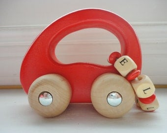Wood Toy Custom - Wood Car - Personalized Wooden Toy Car - Red Name Toy Car - Wood Toy - Baby Gift