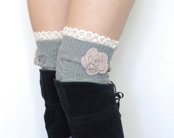 Over the Knee Knit Boot Cuffs w/ Lace Top and Flower - Opal (Grayish Green)