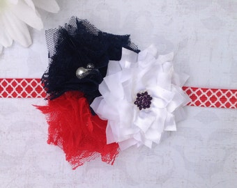 Baby Headband, Red, White, Blue, Hair Clip, Elastic Headband