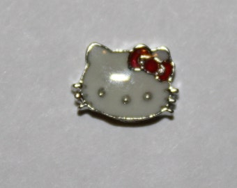 Kitty with red ribbon charm for Floating Lockets