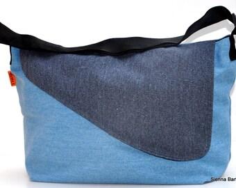Quality New Zealand canvas sailor shoulder/sling navy& light blue- Umhängetasche - sombre sac à bandoulière - bolso de bandolera