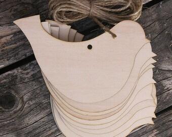 10x Wooden Simple Bird Craft Shape 3mm Ply