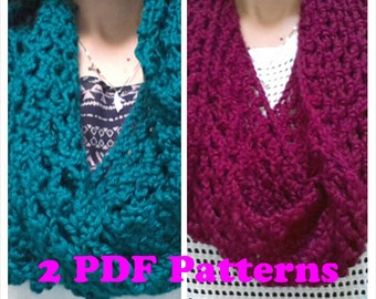 Lace Diamond Mesh Infinity Scarves  2 Patterns in 1