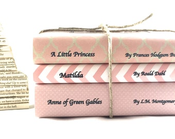 Personalized Books - Decorative Books - Pink Books -  Children's Classics - Custom Book Covers- Pink Book Jackets - Personalized Book Gift