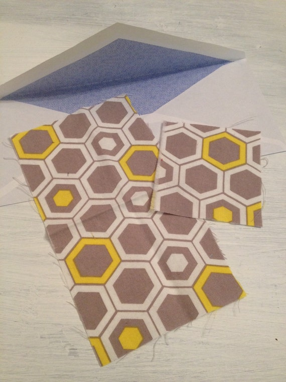 Mod Gray And Yellow Hexagon Fabric Scraps For By