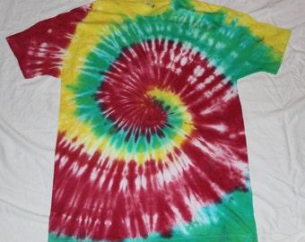 Tie Dye Red / Green / Yellow Rasta Spiral Short Sleeve T Shirt Size Large