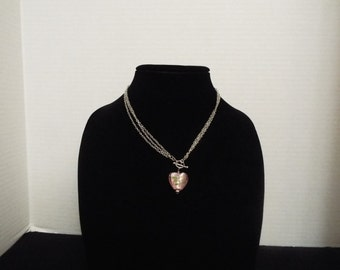 Heart Necklace, Handmade Pink Glass Heart on Toggle Clasp With Silver Three Chain Necklace
