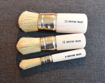 Stencil Brush x 3 Bundle Pure Bristle by Dovetails Vintage for Stencil Furniture Projects or perfect as Wax Brushes - Great Price
