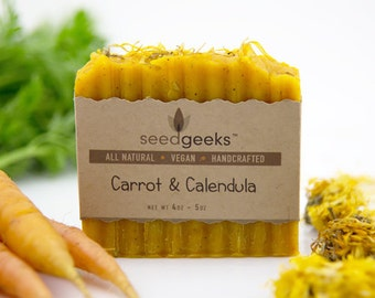 Carrot & Calendula Handcrafted Soap - All Natural Soap, Handmade Soap, Vegan Soap, Cold Process Soap
