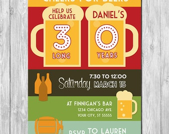 ON SALE - 30th Birthday Beer Invite - 30th Birthday Party Invitation - Printable 30th Birthday Invite - 30th Birthday Party Favors