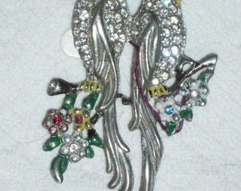Vintage 1940'S Large Double Bird Brooch Listed In Books