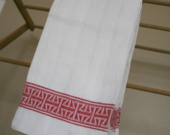 Turkey Red Damask Linen Towel 1930s, Red and White vintage dish cloth.