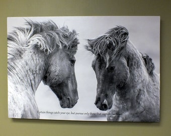 """Horse Canvas Print, Horse Decor, Horse Art, Canvas Quote,  Wall Art Canvas, Couples Love Art """"Capture the Heart"""" Wedding or Anniversary Gift"""