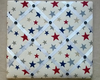 Handmade - Memo/Pin Board covered in Funky Stars fabric - 45cm x 40cm