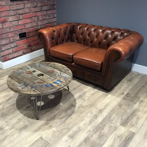 Reclaimed Wood Coffee Table Legs: Steel Cable Drum Coffee Table In Reclaimed Wood With Hairpin