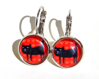 Cabochon Earrings (12mm) with black cat