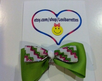 green and pink glitter barrette