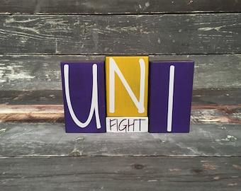 Home Decor Wood Blocks - UNI Fight- {Northern Iowa, Panthers, TC, UNI}