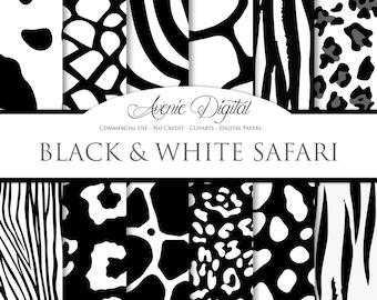 Black and White Animal Prints Digital Paper Scrapbook Backgrounds Wild Animal Skin, Safari textures. Clipart leopard zebra snake tiger cow