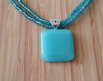 Seafoam Blue Fused Glass Necklace