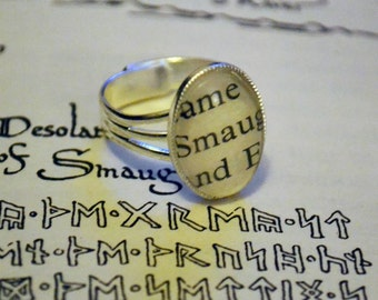 Oval Book Ring. Lord Of The Rings / The Hobbit. ** Smaug **