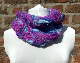 Blue and purple hand knitted neckwarmer, handmade cowl, knit snood, wool scarf