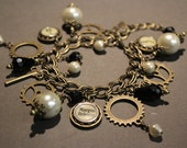 """Geared - Vintage Typewriter Key Charm Bracelet - Antique Bronze. Gift for Writers. Customize with """"Initial"""" Keys."""